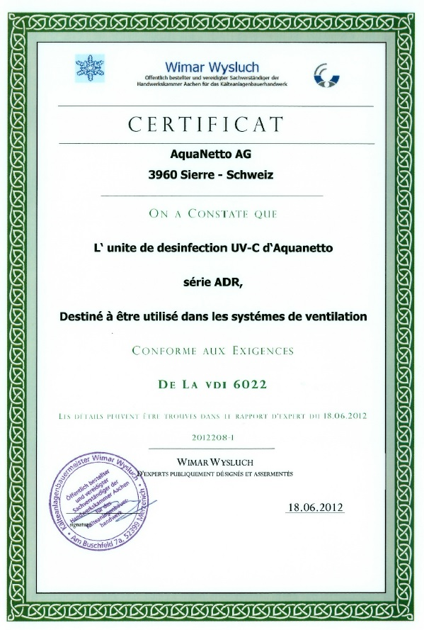certificats traitement de l 39 eau et de l 39 air aquanetto group gmbh suisse. Black Bedroom Furniture Sets. Home Design Ideas